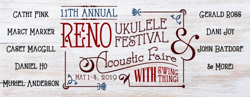 banner image for reno uke festival listing all performer names