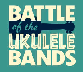 battle of the ukulele bands logo a green square with a black uke and the words