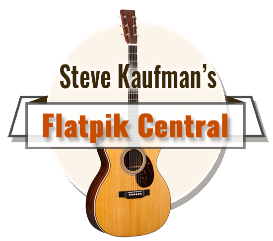 logo for steve kaufman's flatpik central, which is an acoustic guitar and words