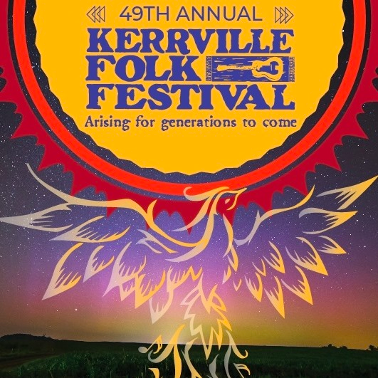kerrville festival logo—a phoenix flying up to the sun