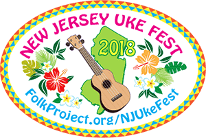 a colorful logo with hawaiian flowers a uke, and a map of new jersey