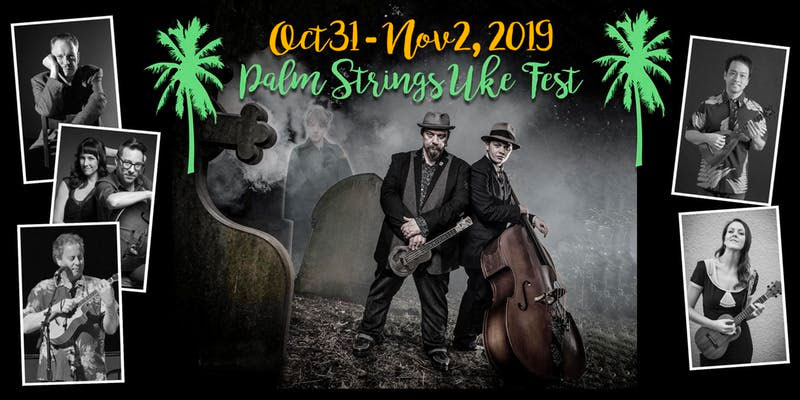 spooky halloween looking poster with palm trees and ukulele artists