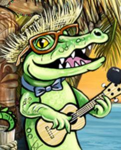alligator playing uke